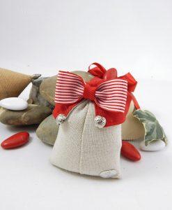sacchetto rettangolare portaconfett colletto rosso con papillon rosso e bianco cherry and peach