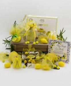 saponette gialle limone i profumi di sicilia scatola pvc barattolo vetro lanterna led partecipazione nozze