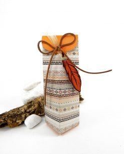 scatola alta disegni tribali arancio e marrone
