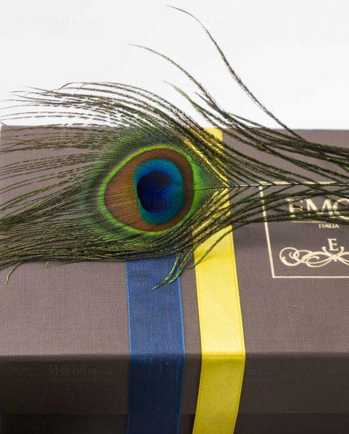 scatola art collection bomboniera lusso con piuma pavone emò