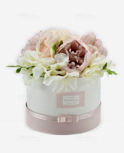scatola portaconfetti cartoncino rosa e bianco con fiori linea forever rdm design