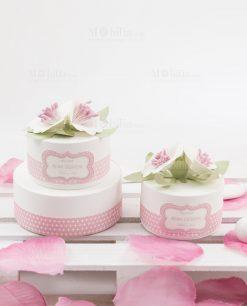 scatole per confetti rotonda due misure line blush rdm design
