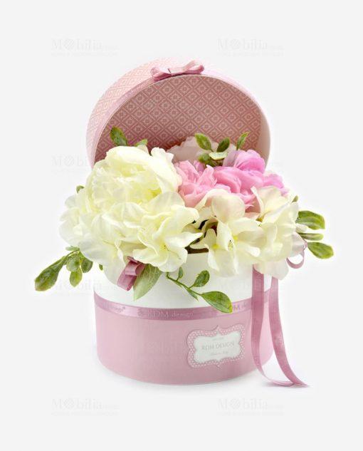 scatolina portaconfetti bianca e rosa con fiori linea blush rdm design
