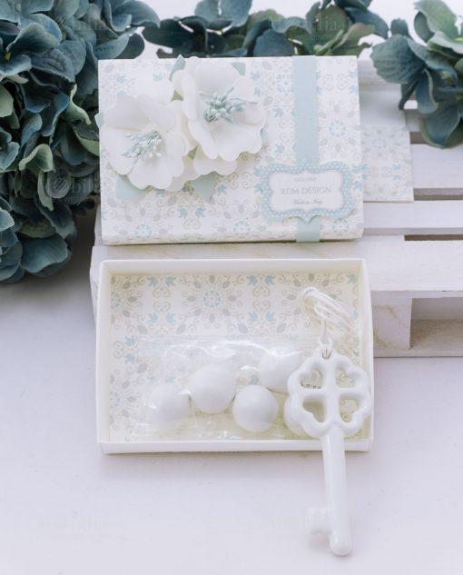 scatolina portaconfetti con confetti con due fiori e chiave porcellana linea sweet memory