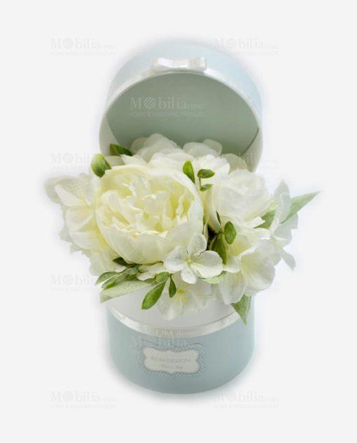 scatolina portaconfetti con fiori bianchi linea sweet memory rdm design