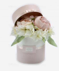 scatolina portaconfetti rosa e bianca con fiori linea forever rdm design
