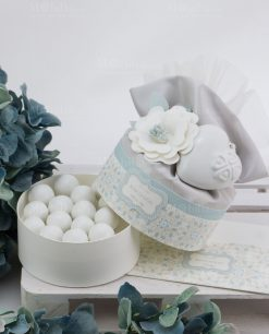 scatolina portaconfetti rotonda con cuore porcellana bianca capodimonte linea swet memory rdm design