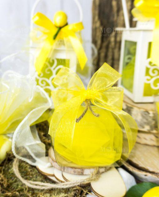scatolina torta pvc con saponetta limone e nastro giallo