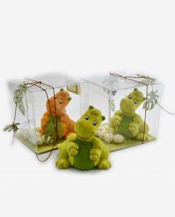 sculturina dinosauro assortito verde e arancione linea gli antenati rdm design