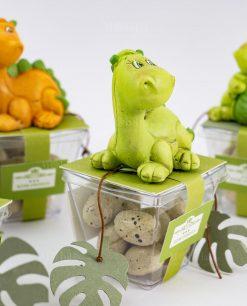 sculturina dinosauro verde su scatolina portaconfetti rdm design