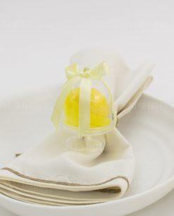 segnaposto alzatina trasparente con saponetta limone