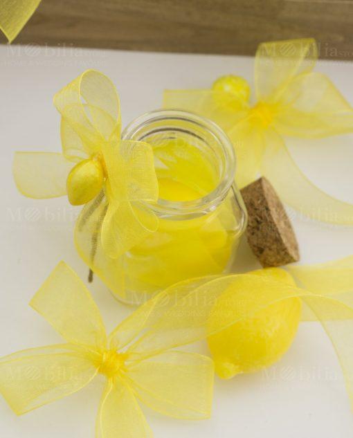segnaposto barattolo vetro tappo sughero con saponetta gialla limone