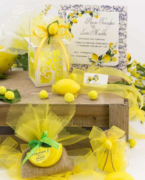 segnaposto bustina juta con saponetta spicchio barattolo vetro lanterna capricci limone 1