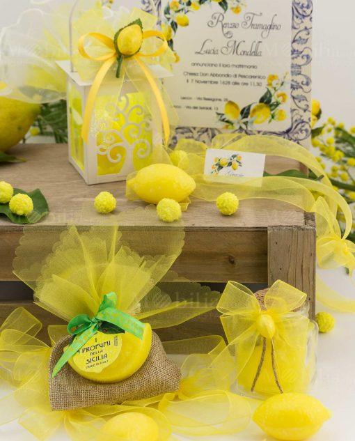segnaposto bustina juta con saponetta spicchio barattolo vetro lanterna capricci limone