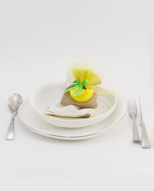 segnaposto bustina juta con saponetta spicchio di limone i profumi di sicilia