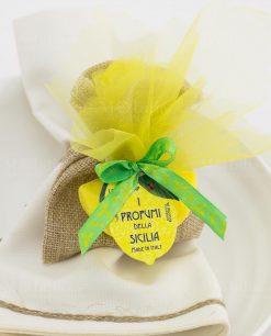segnaposto bustina juta con saponetta spicchio limone i profumi di sicilia