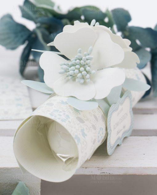 segnaposto cartoncino con confetti e fiore linea sweet memory rdm design