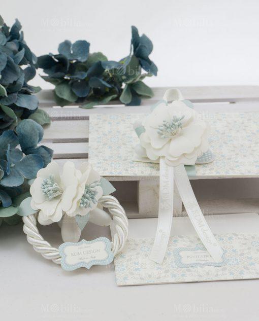segnaposto con fiore con nastri e con cordoncino linea sweet memory rdm design