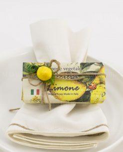segnaposto sapone vegetale limone sicilia con spago e applicazione limone