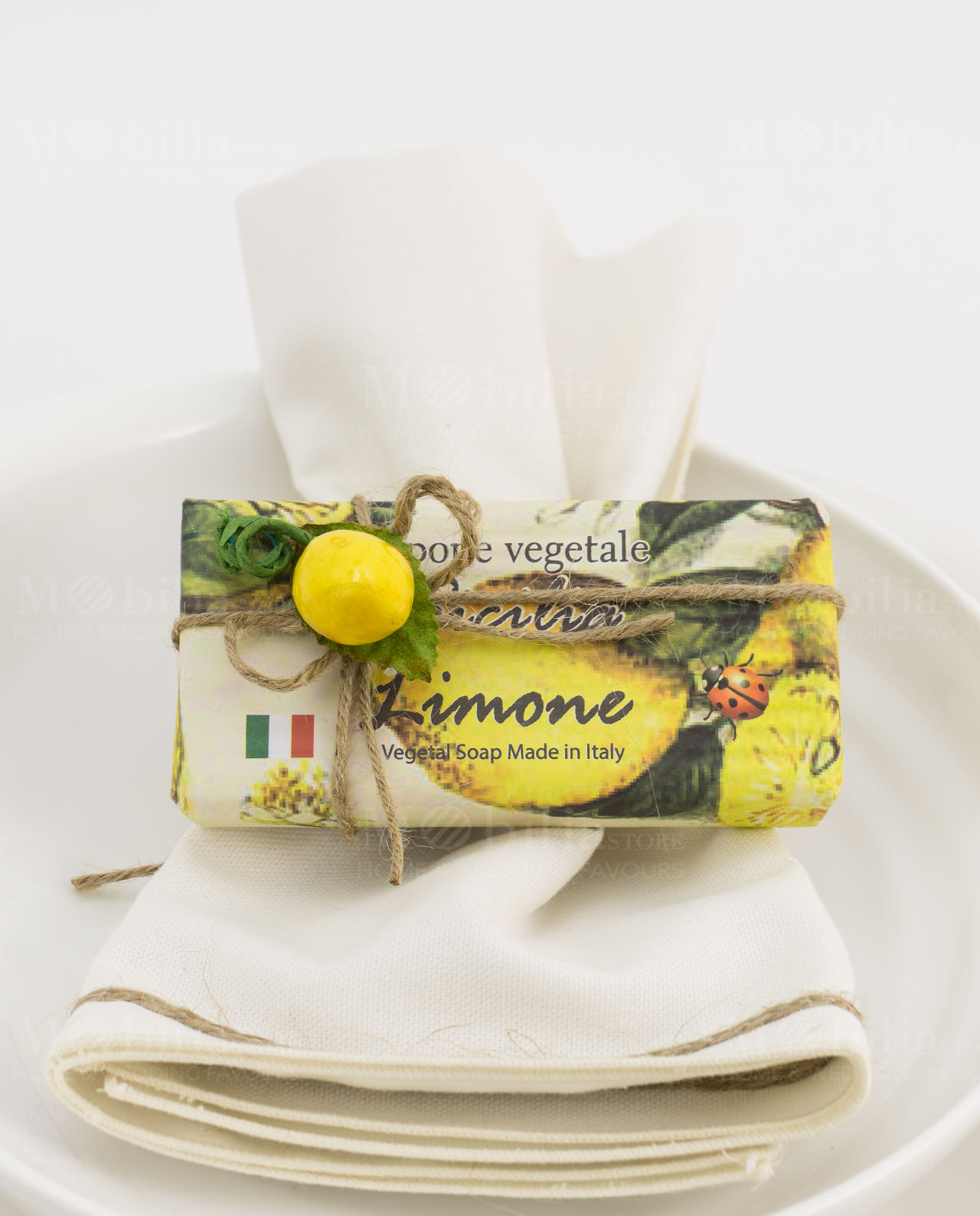 Segnaposto Matrimonio Tema Sicilia.Saponetta Vegetale Al Limone Incartata 100 Gr Mobilia Store Home