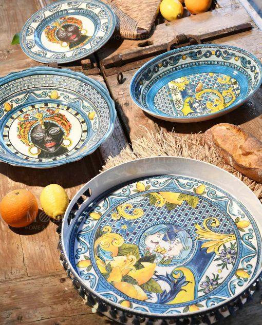 servizio piatti linea baroque and rock sicily blu baci milano