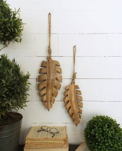 set due foglie legno decorative modello tropical leaves orchidea milano