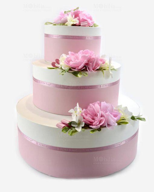 set scatole rotonde bianche e rose con rose linea blush rdm design