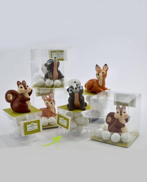 soggetti animali su scatolina piccola con confetti linea biancaneve rdm design