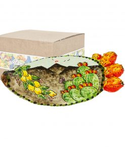 svuotatasche ceramica pala di fico dindia scatola cartoncino con decoro frutta