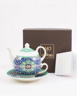 teiera tisaniera con tazza e piattino con certificato autenticità art collection linea azulejos emò