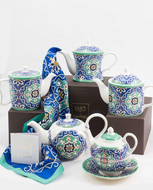 teiere varie forme con stampa blu con certificato autenticità art collection linea azulejos emò