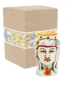 testa di donna piccola uomo ceramica con scatola cartoncino con decoro