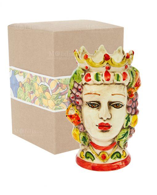 testa di moro donna grande con corona e frutta ceramica con scatola cartoncino con decoro frutta