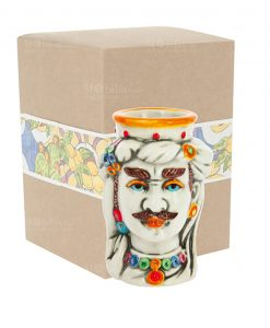 testa di moro piccola uomo ceramica con scatola cartoncino con decoro
