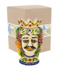 testa di moro uomo grande con corona e frutta ceramica con scatola cartoncino con decoro frutta