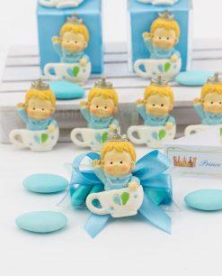 tubicino confetti blu con applicazione magnete bimbo su tazza