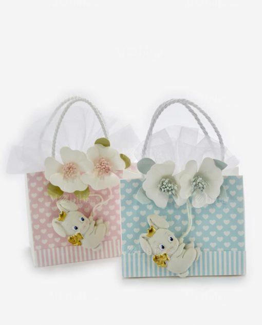 bag portaconfetti due colori azzurra e rosa con coniglietto linea petit lapin rdm design