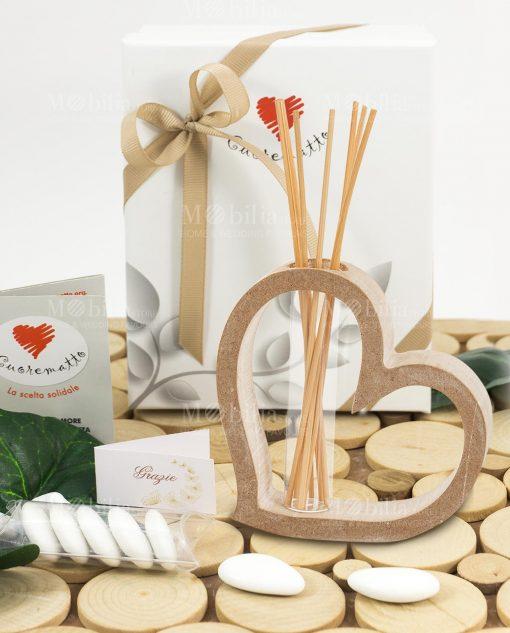 bobmoniera profumatore cuore legno piccolo con scatola bastoncini e fragranza linea mago di oz cuore matto