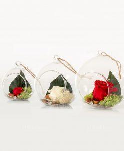 bolla vetro soffia con rosa e cordoncino 3 misure cuorematto