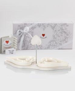 bomboniera antipasiera cuore con base legno cuore matto