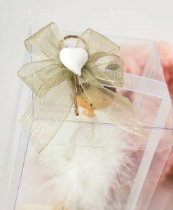 bomboniera ballerina con tutù piume dettaglio fiococ a 4 su scatola con applicazione cuoricino gessetto