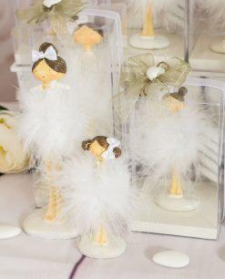 bomboniera bambolina con tutù piume confezione lusso