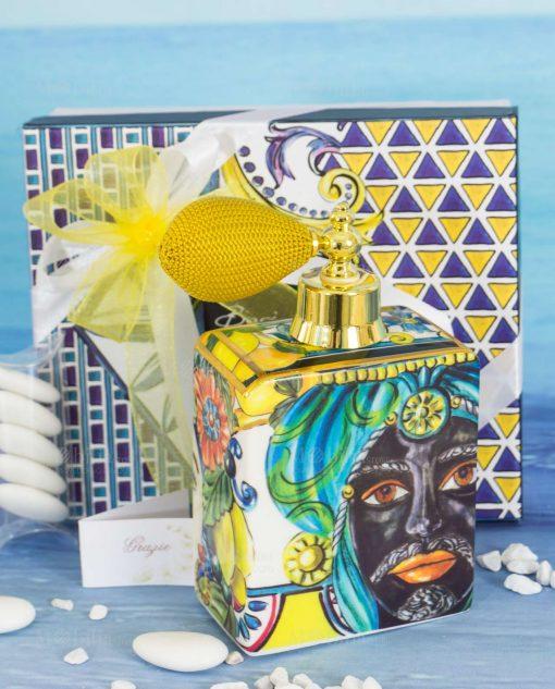 bomboniera bottiglia porcellana profumo spray linea baroque and rock sicily gold