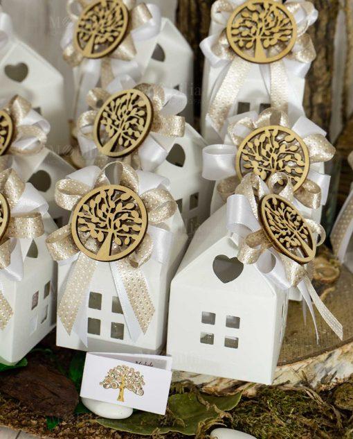 bomboniera casetta bianca con nastri e albero della vita legno