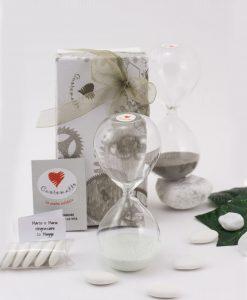 bomboniera clessidra piccola vetro con sabbia bianca e grigia cuore matto
