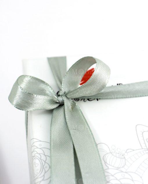 bomboniera cuorematto dettaglio fiocco grigio perla