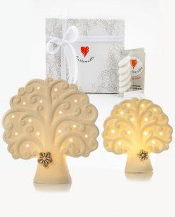 bomboniera lampada led bianca albero della vita con fiorellino tortora 2 misure cuore matto