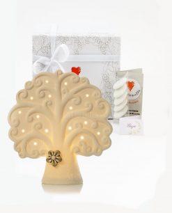 bomboniera lampada led bianca albero della vita con fiorellino tortora grande cuore matto