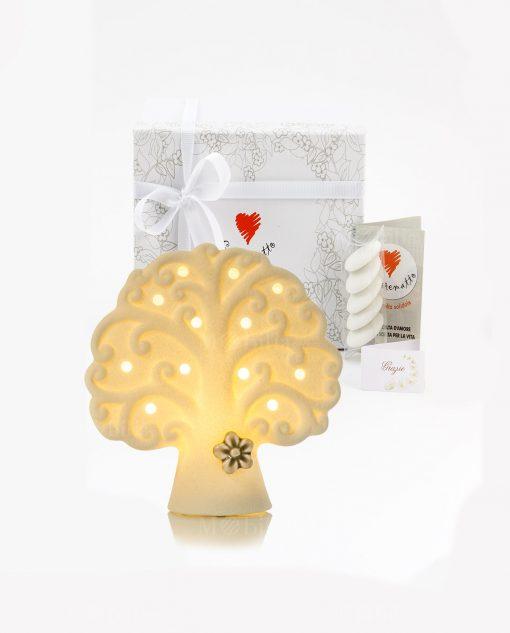bomboniera lampada led bianca albero della vita con fiorellino tortora piccola cuore matto