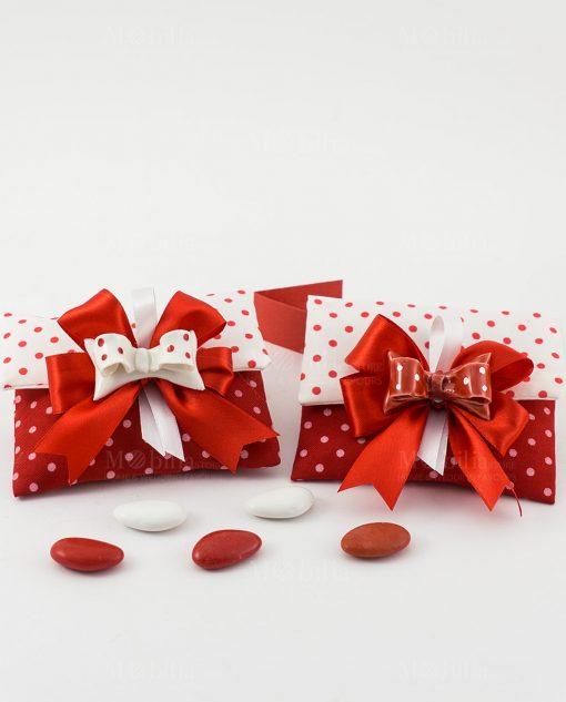 bomboniera magnete fiocco rosso e bianco a pois su sacchetto bustina portaconfetti rosso e bianco